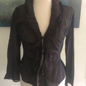 Vintage beautiful brown Aubergine silk jacket